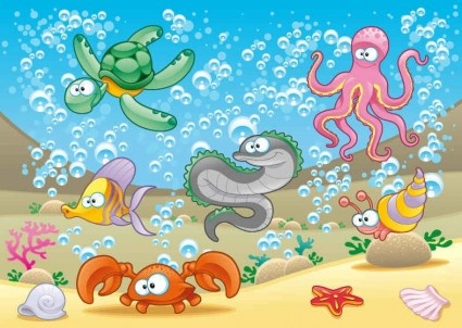 cartoon marine animals background vectors