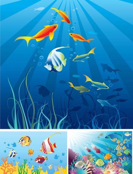 cartoon marine scenes vector