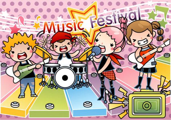 cartoon music illustration vetcor