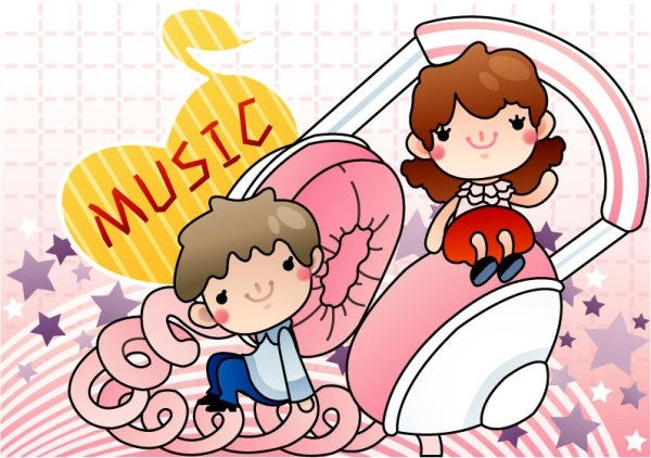 cartoon music illustrator 05 vector
