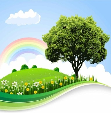 cartoon natural landscapes beautiful vector