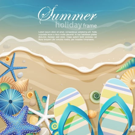 summer banner sea elements sketch bright colorful modern