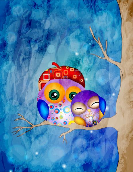 cartoon owl on tree branch
