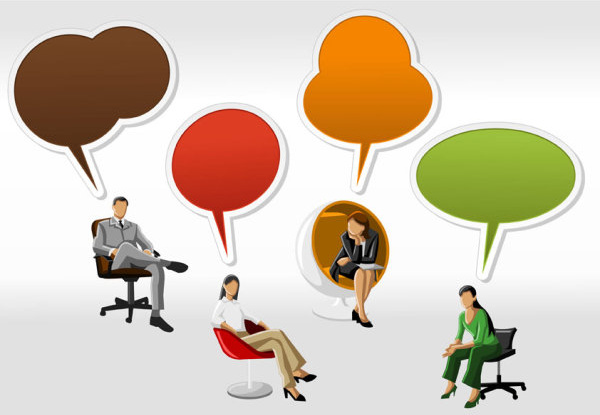 cartoon people and speech bubbles vector graphics