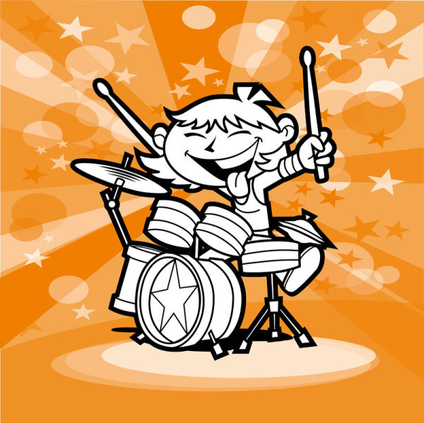 cartoon people with music design vector