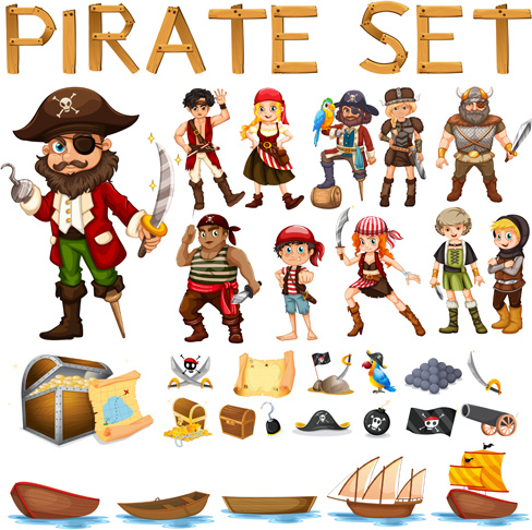 pirate free vector download  178 free vector  for Tropical Parrot Clip Art Pirate Ship Clip Art