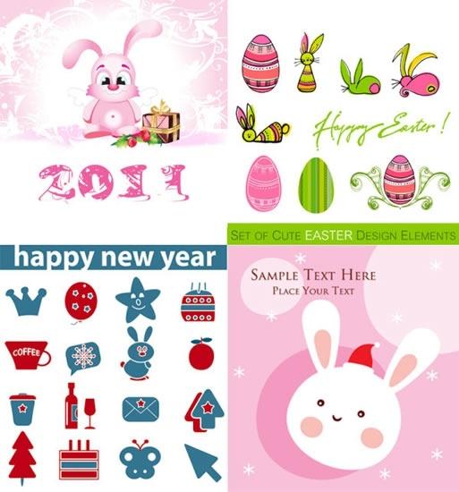easter background design elements eggs rabbits sketch