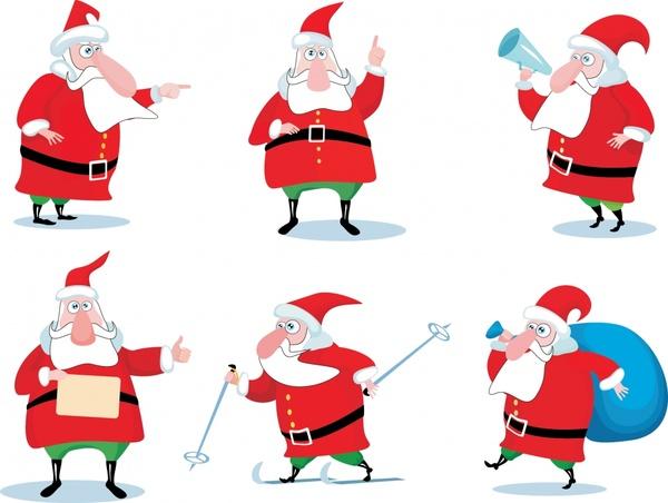 santa claus icons funny cartoon characters sketch