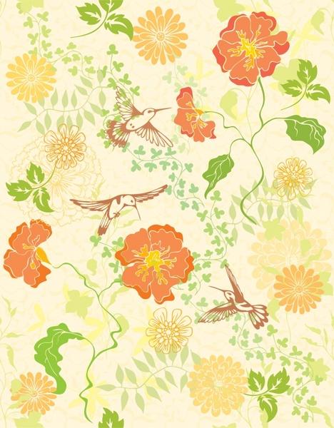 nature background flowers birds decor colorful classical design