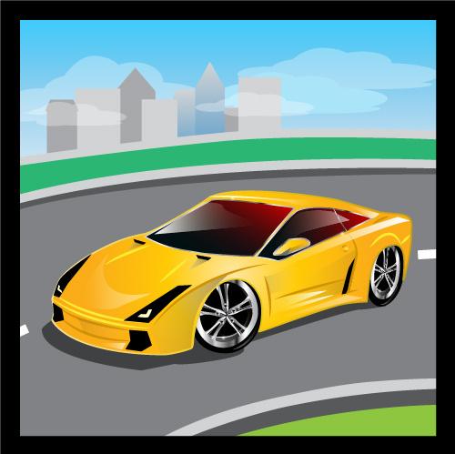cartoon sports car design vectors set