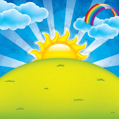 cartoon spring background bright vector