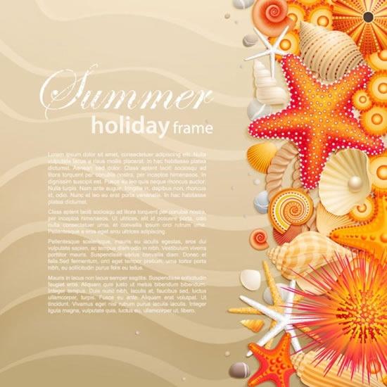 beach background template modern sea shells creatures decor