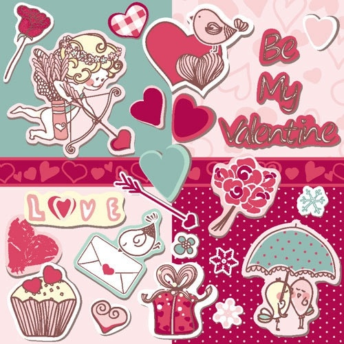 cartoon stickers tags banner cupid vector
