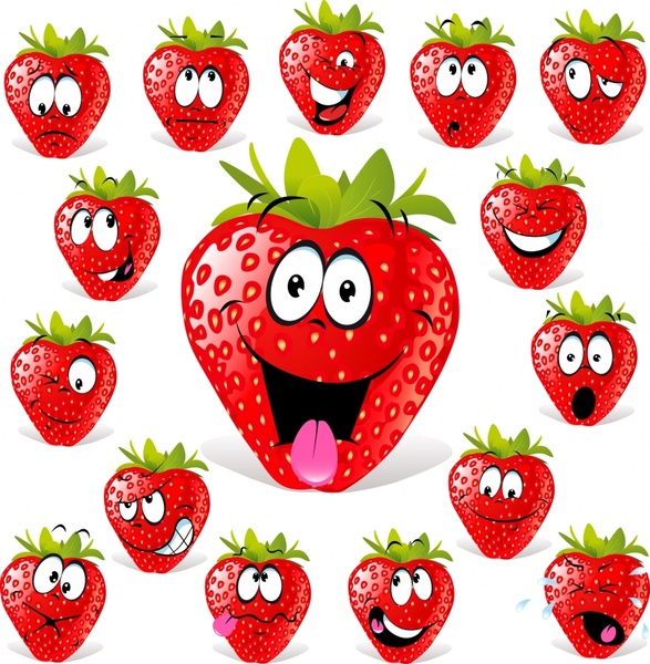 strawberry icons funny facial sketch stylized design