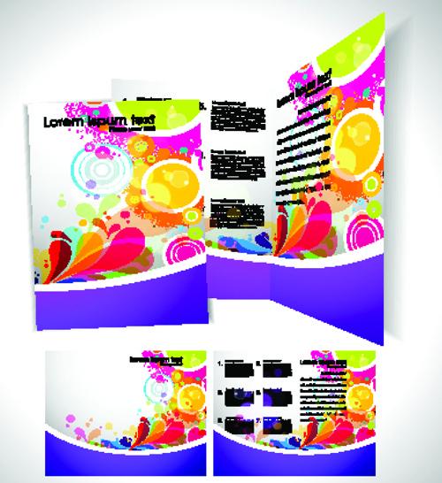 cartoon style brochure cover template vector