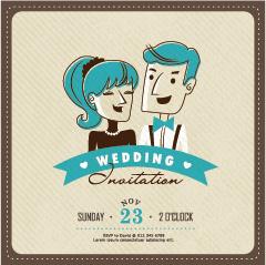 cartoon style wedding invitation cards