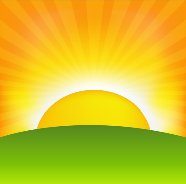 Cartoon sunrise background vector Free vector in ...