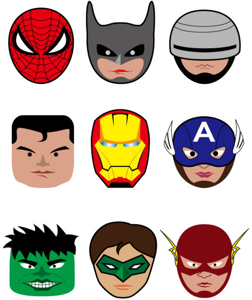 cartoon superheroes head portrait vector free vector in adobe