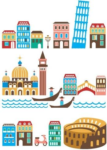 Cartoon Town Buildings Design Vector Graphics Free Vector