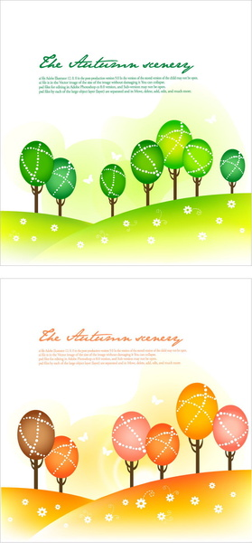 cartoon tree with natural vector background