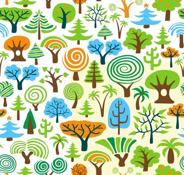 nature pattern template trees icons colorful handdrawn sketch