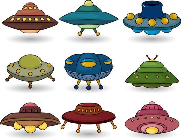 vector ufo spaceship alien cartoon free vector download (14,275
