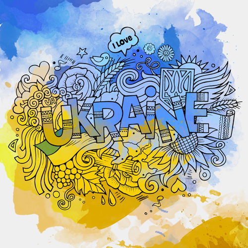 cartoon ukraine style hand drawn background