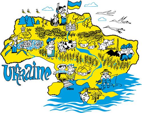 cartoon ukraine style hand drawn background