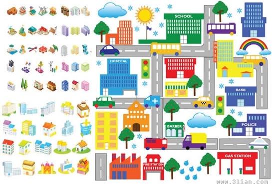city scheme design elements colorful 3d icons