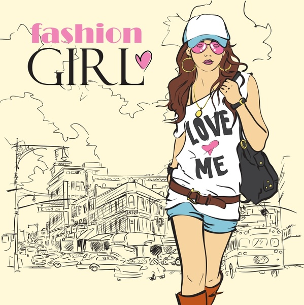 female fashion banner casual girl sketch handdrawn design