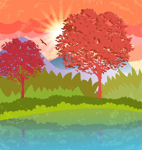 cartoon vector illustration of countryside scenery