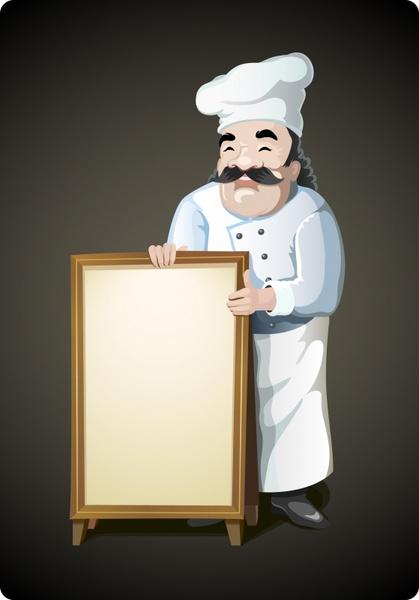 restaurant banner background male cook icon cartoon sketch