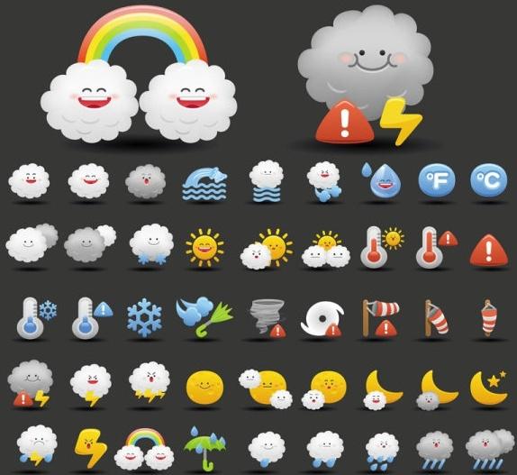 cartoon weather icon 02 vector