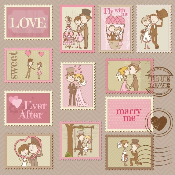 cartoon wedding card 01 vector