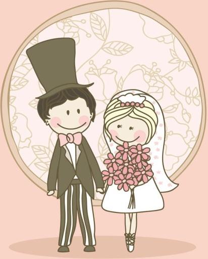 cartoonstyle wedding elements 04 vector