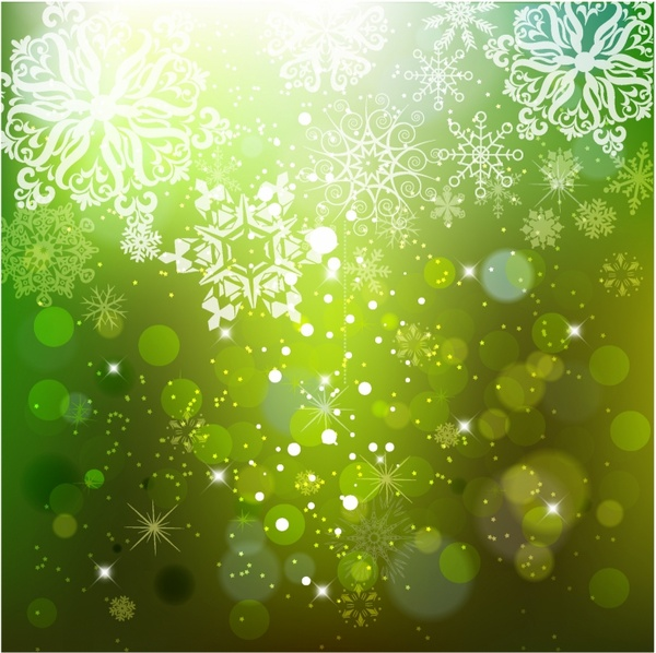 Cascading Snowflakes on Green Background