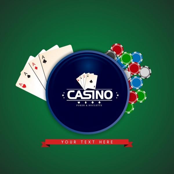 casino background gambling cards icons ribbon circle decoration