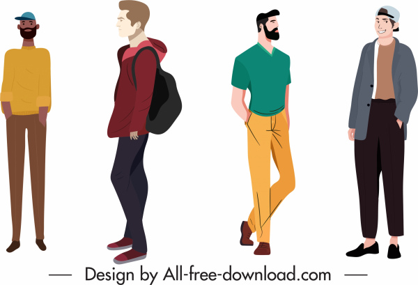 casual fashion icons men sketch colored cartoon characters