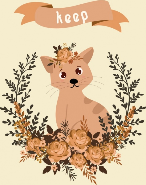 cat background flowers decoration retro design