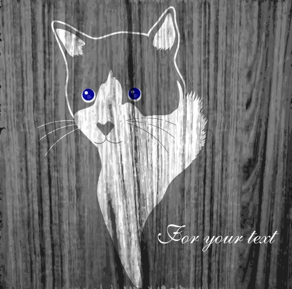 cat portrait drawing retro style wooden background