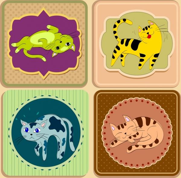 cat stickers templates various gestures multicolored design