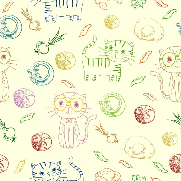 cats background multicolored handdrawn food icons repeating design