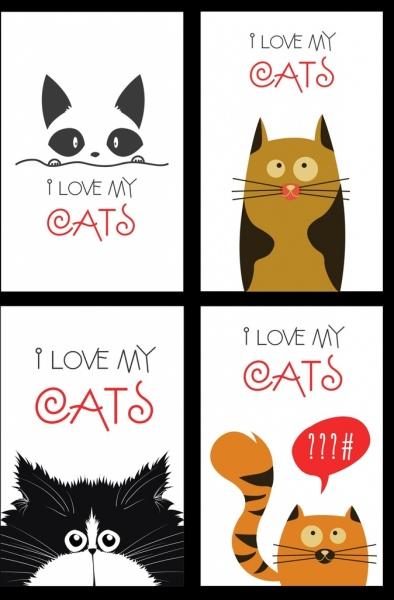 cats banner cute icon decor cartoon design