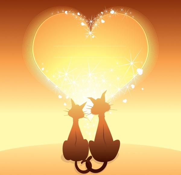 romance background sparkling golden heart cats couple decor