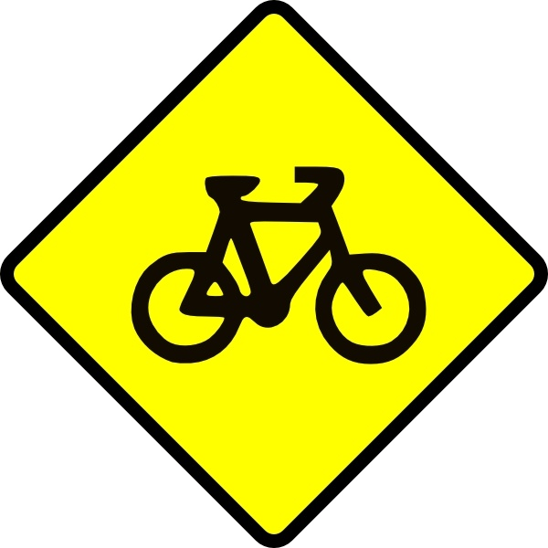 Caution Bike Road Sign Symbol Clip Art Free Vector In Open Office