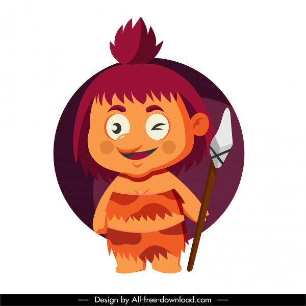 caveman icon cute kid sketch cartoon character design
