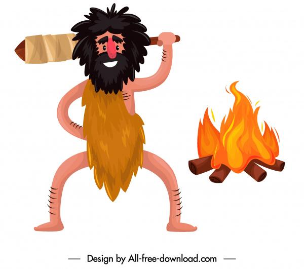 caveman icon funny cartoon character