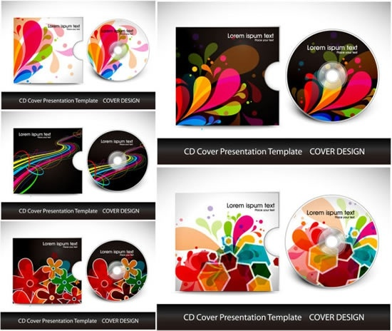cd package cover templates modern colorful dynamic decor
