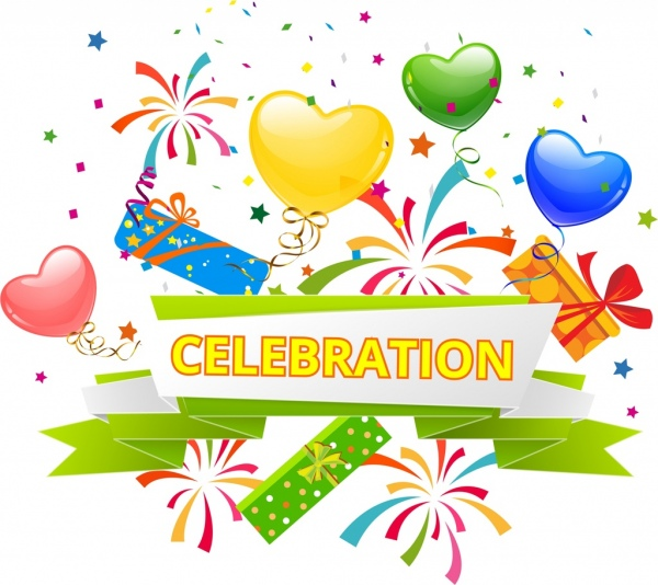 celebration background colorful ribbon heart balloon gift icons