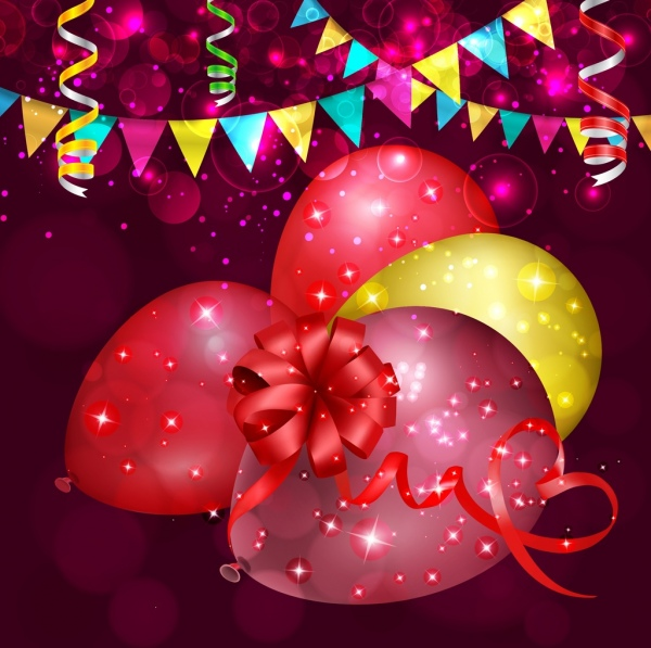 celebration background sparkling bokeh colorful balloons ribbons